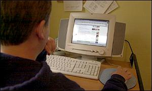 Man surfing the internet, BBC