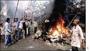 Communal rioting in Ahmedabad