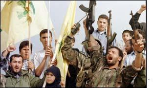 Hezbollah guerrillas celebrate