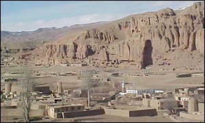 Bamiyan town with the Buddha-site mountain in the background
