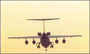 A passenger plane landing, BBC