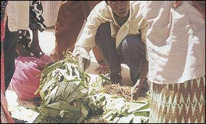 Locals gather round as soon as the khat planes land