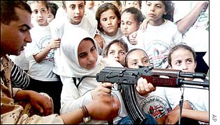 Palestinian police officer teaches girls how to use an AK-47 rifle