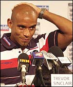 Trevor Sinclair reveals his bus-boarding faux pas at a media conference.