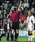 David Beckham is sent off during England's 1998 World Cup loss to Argentina.