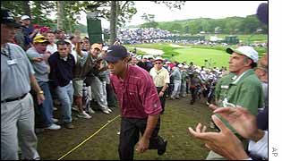 Tiger Woods takes the applause from fans at Bethpage Black Course