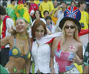 England and Brazil fans in stadium, Japan (image courtesy Allsport)