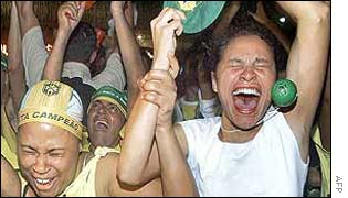 Two women celebrate in Rio