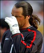 David Seaman is dejected after England's defeat to Brazil