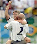 Michael Owen celebrates his goal against Brazil
