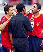 Hierro protests with the referee during Spain's match with South Korea