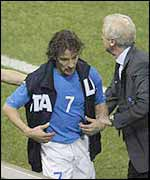 Alessandro del Piero is substituted against South Korea