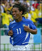 Ronaldinho was sent off after scoring for Brazil against England