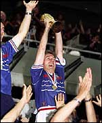 France's Didier Deschamps lifts the World Cup in 1998