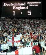 Fans celebrate England's convincing victory
