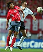Hwang Sun-Hong in action for South Korea against Germany