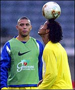 Brazil's Ronaldinho balances the ball on his head