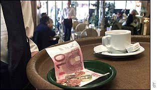 Euros used to pay for coffee in Paris