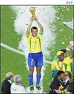 Brazilian captain hoists World Cup trophy