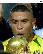 Brazil striker Ronaldo with the World Cup