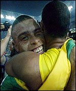 Ronaldo and Rivaldo celebrate a striking success