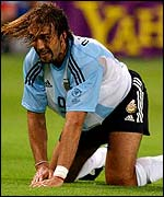 Gabriel Batistuta contemplates defeat against England