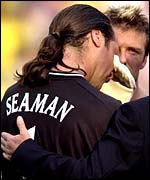 England's David Seaman is inconsolable after defeat to Brazil