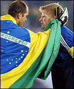 Brazil's Marcos consoles Germany's Oliver Kahn after the 2002 World Cup final