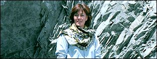 Jane Corbin outside an abandoned al-Qaeda cave in south east Afghanistan