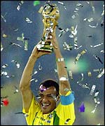 Brazilian captain Cafu holds aloft the World Cup after the 2-0 win over Germany