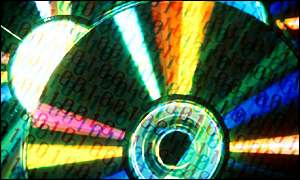 Binary code superimposed on compact discs