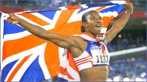 Denise Lewis celebrates her Olympic victory in Sydney