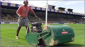 Headingley groundsman Jason Booth with a huge lawnmower