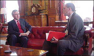 Jack Straw with BBC News Online's Mark Davies
