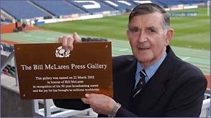 Bill McLaren with the Bill McLaren press gallery plaque