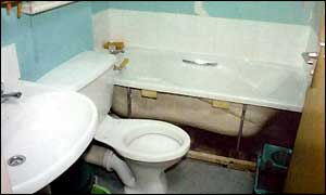 The bathroom where Victoria was forced to sleep in her final months