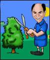 Adam cutting hedge cartoon