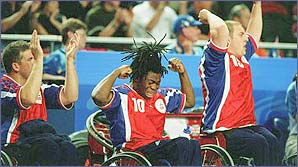 Ade Adepitan enjoying he Olympic experience in Sydney