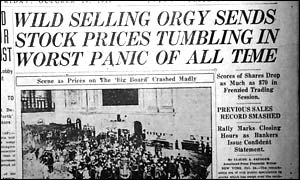 Newspaper headlining the Wall Street Crash