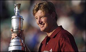 Ernie Els holds the famous Open Claret Jug