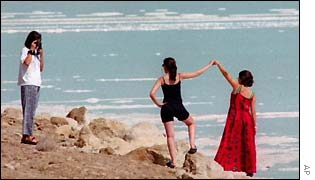 Tourists at the Dead Sea