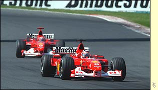 Rubens Barrichello heads Michael Schumacher during the Hungarian Grand Prix