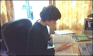 Anastasia Fedotova studying at her home