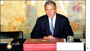 President George Bush in Churchill's seat at the cabinet war rooms, London