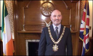 Irish tricolour and Union flag fly in lord mayor's office