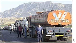 Turkish trucks transporting Iraqi oil