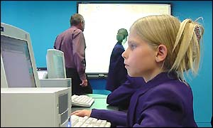 Pupil using computer