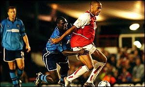 Arsenal striker Thierry Henry scored against Manchester City on Tuesday evening