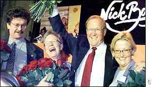 Social Democrats celebrate at rally in Stockholm, Persson (2nd from right)