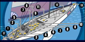 Typical crew positions on board an America's Cup boat